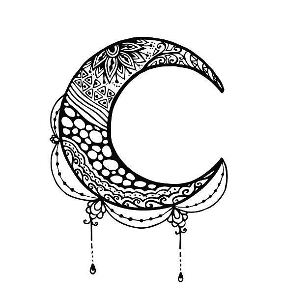 Vecteurs de lune en zentangle style - Illustration vectorielle