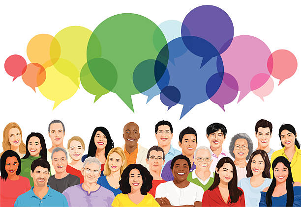 Vector of Multiethnic Diverse Cheerful People vector art illustration