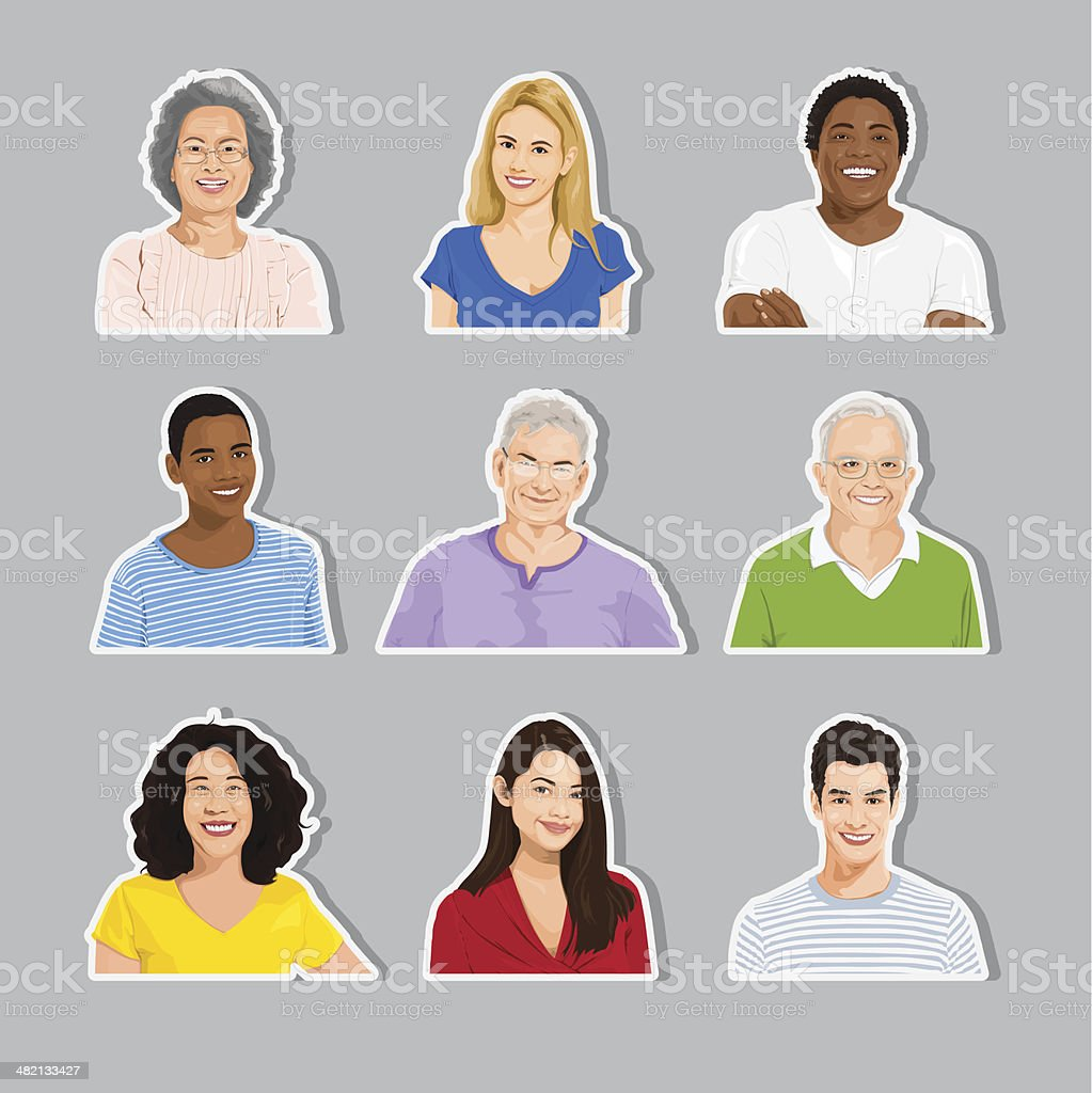 Vector of Multi-ethnic people Collection vector art illustration
