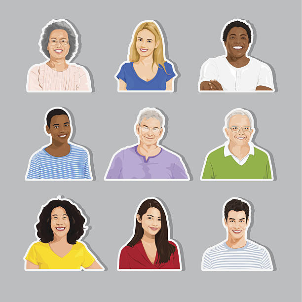 vector of multi-ethnic people collection - head and shoulders stock illustrations, clip art, cartoons, & icons