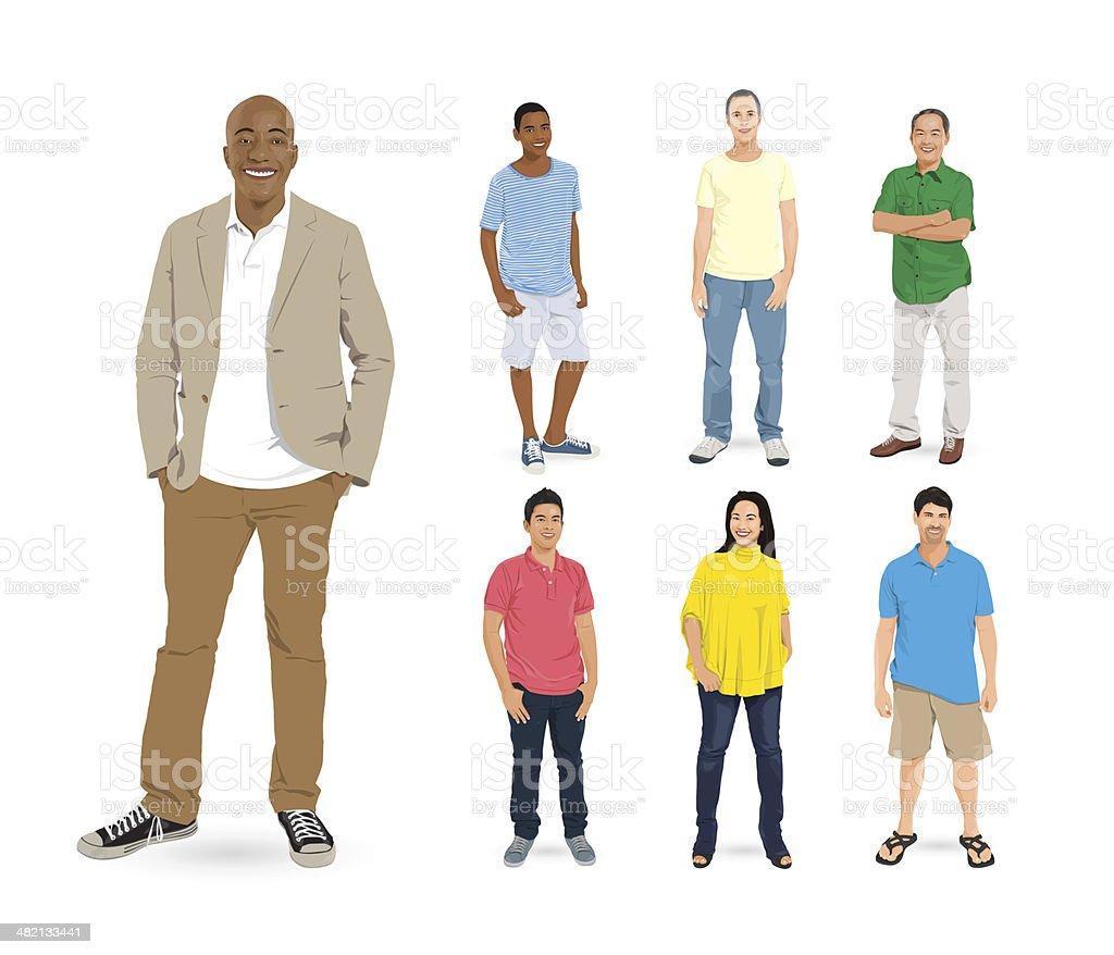 Vecteur de groupe Multi-ethnique de gens - Illustration vectorielle