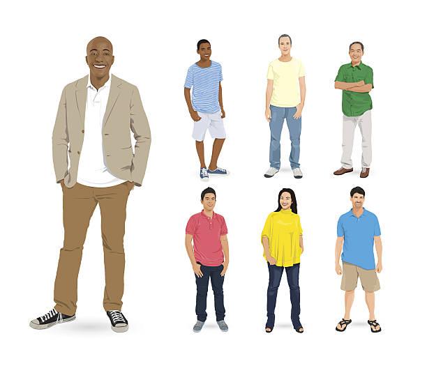 bildbanksillustrationer, clip art samt tecknat material och ikoner med vector of multi-ethnic people group - fritidskläder