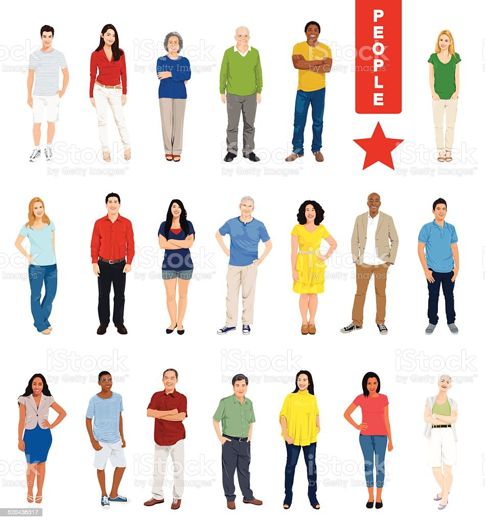 Vector of Multiethnic People on White Background vector art illustration