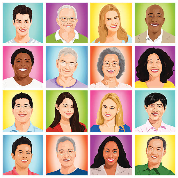 vector of multiethnic people - head and shoulders stock illustrations, clip art, cartoons, & icons
