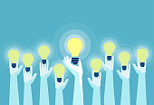 Concept of great ideas competition. Vector of multiple hands holding bright lightbulbs.