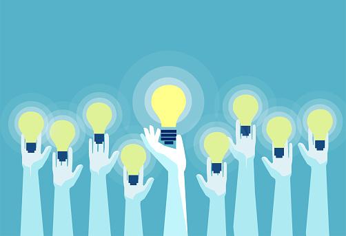Vector of multiple hands holding bright lightbulbs. clipart