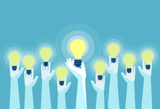 illustrazioni stock, clip art, cartoni animati e icone di tendenza di vector of multiple hands holding bright lightbulbs. - cooperazione