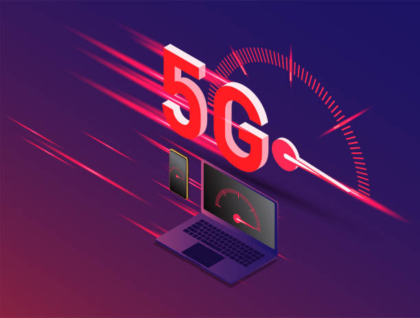 vector of new 5th generation of internet concept, speed of 5G network internet wireless. vector art illustration