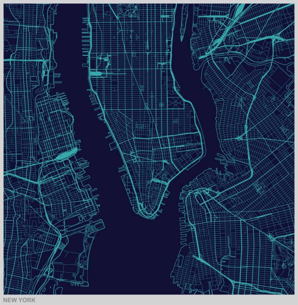vector of new york city map illustration - new york map stock illustrations, clip art, cartoons, & icons