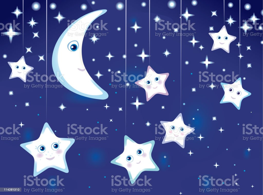 Vetores De Vetor De Ceu A Noite Com Lua E Estrelas Desenhos