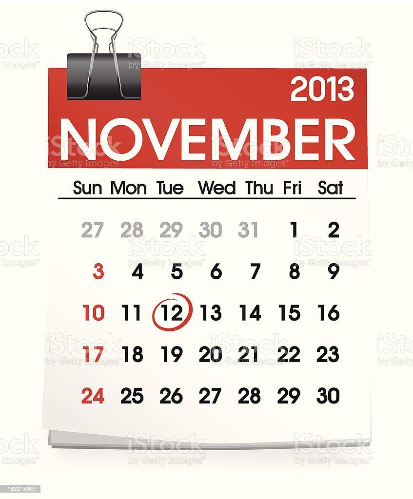 Vector of November Calendar royalty-free vector of november calendar stock vector art & more images of 2013