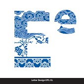 Vector of Oriental style alphabet tape E. Traditional Chinese