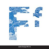 Vector of Oriental style alphabet tape F. Traditional Chinese style.