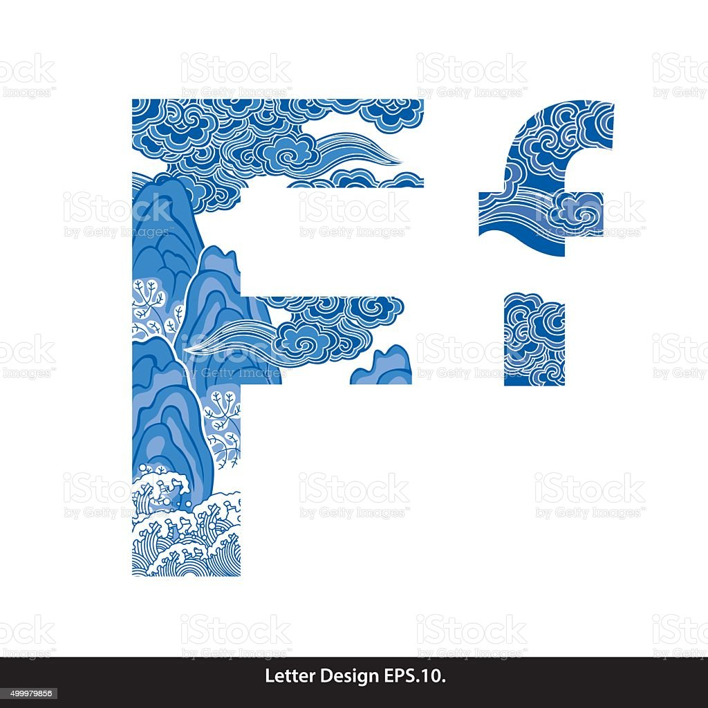 Vector of Oriental style alphabet tape F. Traditional Chinese vector art illustration