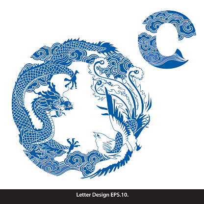 Vector of Oriental style alphabet tape O. Traditional Chinese style.