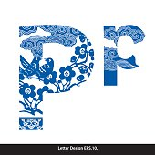 Vector of Oriental style alphabet tape P. Traditional Chinese