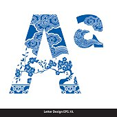 Vector of Oriental style alphabet. Traditional Chinese style.