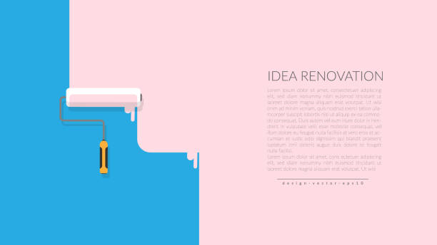 vector of paint roller painting pink color on blue empty wall house. creative home repair and painting concept, logo design poster template with copy space for your company text. vector of paint roller painting pink color on blue empty wall house. creative home repair and painting concept, logo design poster template with copy space for your company text. renovation stock illustrations