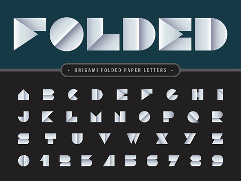 Vector of Paper folded Alphabet Letters and numbers, Modern Origami stylized fonts