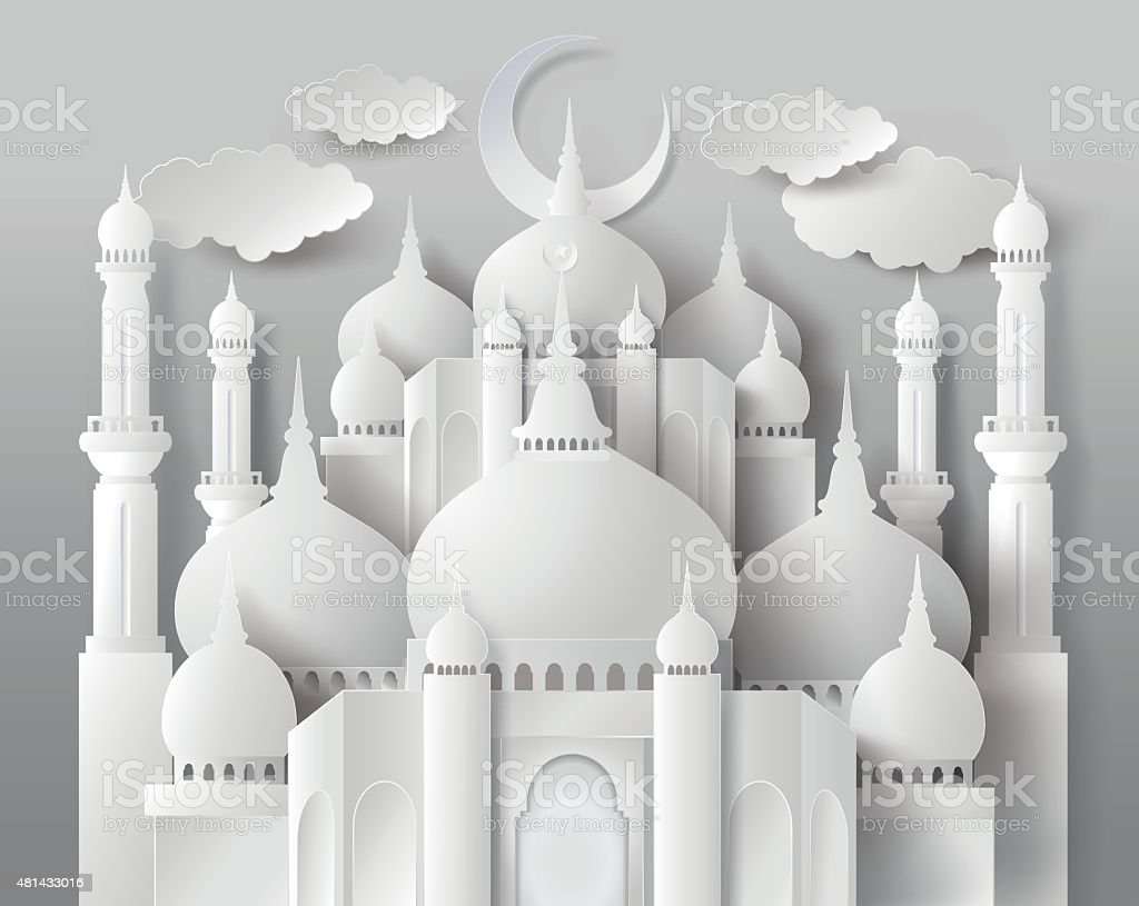 Vector of paper Mosque. vector art illustration