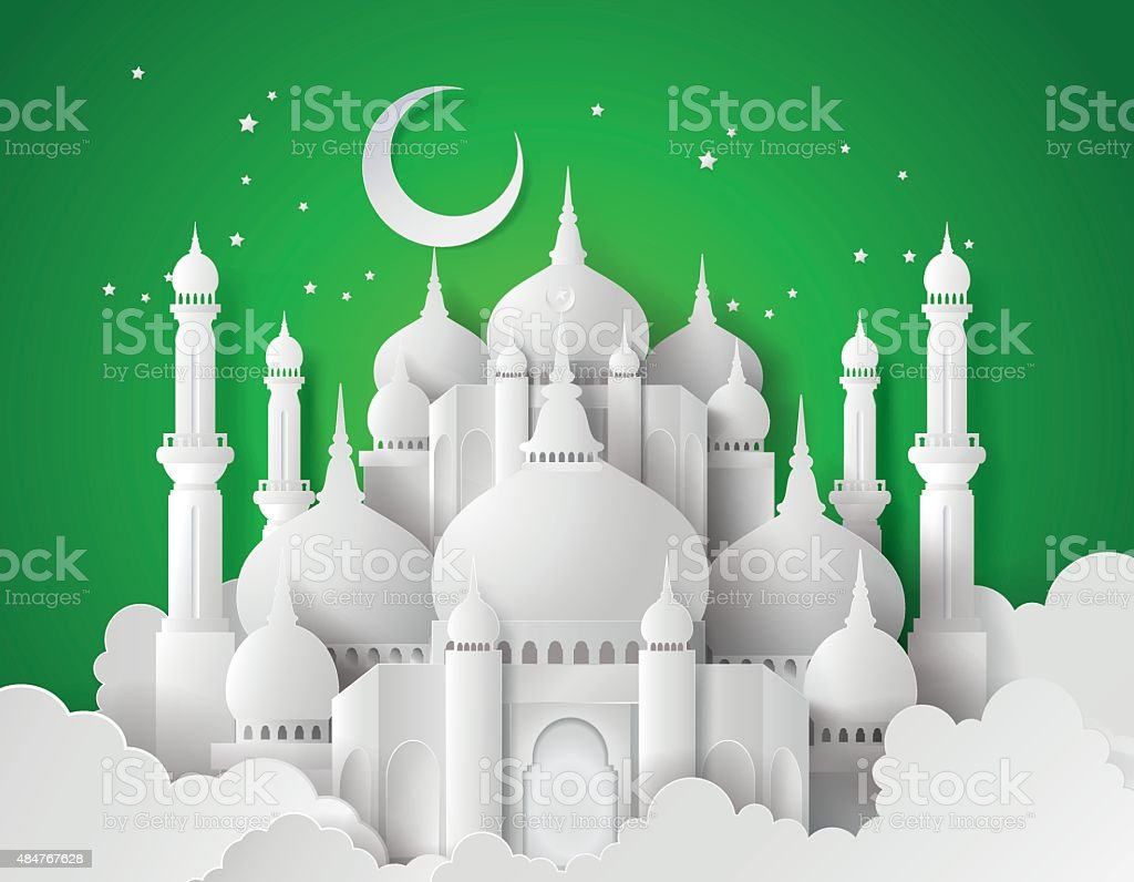 Vector of paper Mosque. vector art illustration