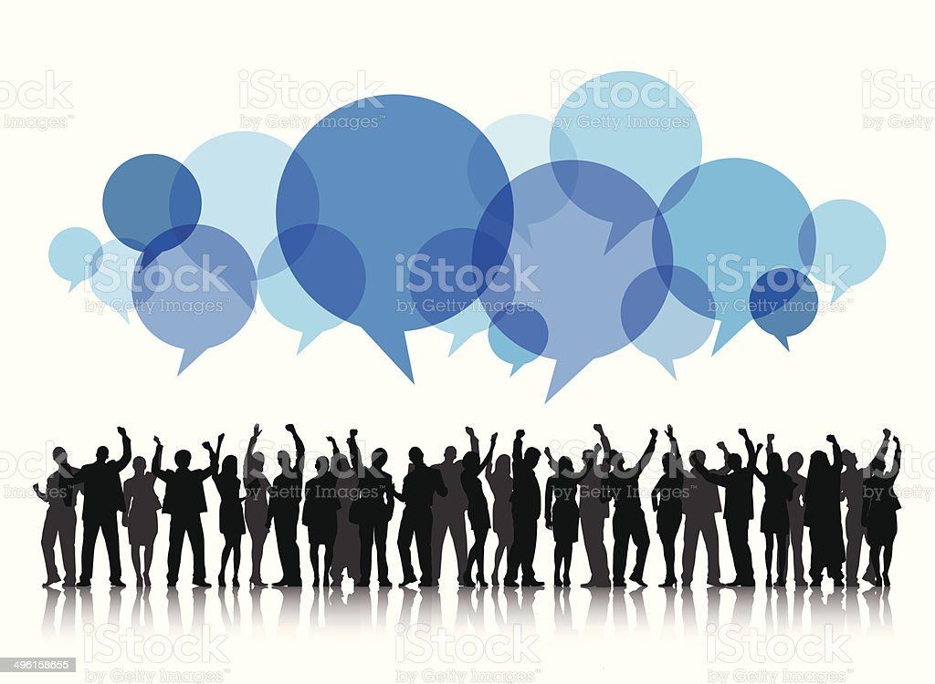 Vector of People Arms Raised and Speech Bubble vector art illustration