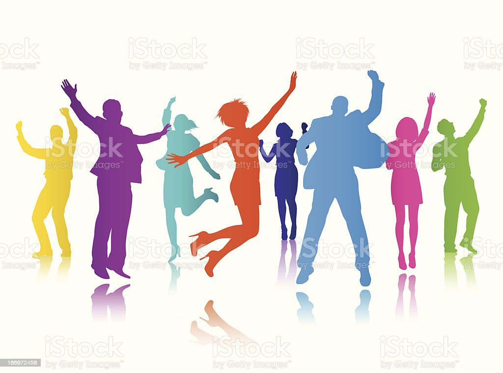 Vector of People Celebrating Group vector art illustration