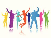 Vector of People Celebrating Group