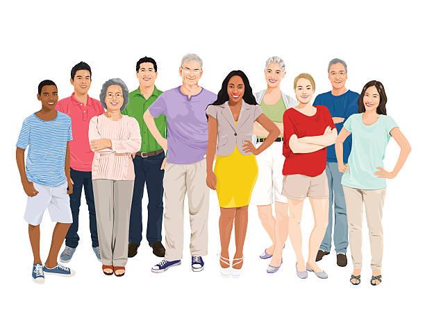 bildbanksillustrationer, clip art samt tecknat material och ikoner med vector of people group - medelålders