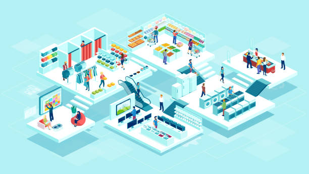 ilustrações de stock, clip art, desenhos animados e ícones de vector of people men and women shopping at the supermarket and buying products - online shopping