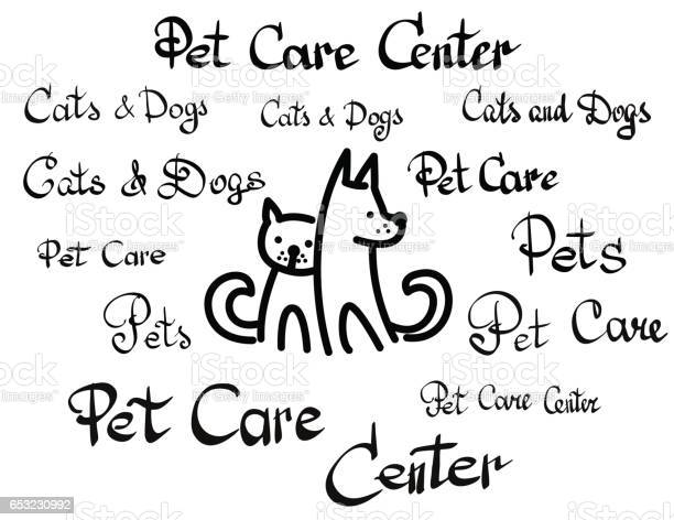 Vector of pet care center lettering calligraphy set vector id653230992?b=1&k=6&m=653230992&s=612x612&h=c7v2rv25jyj lk7vvs1hbguhhsuvyemuw6fxdywox3g=