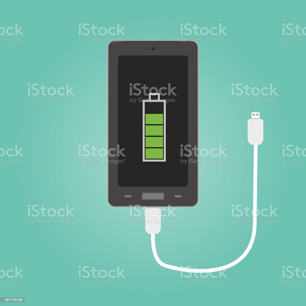 Vector of phone charging vector art illustration