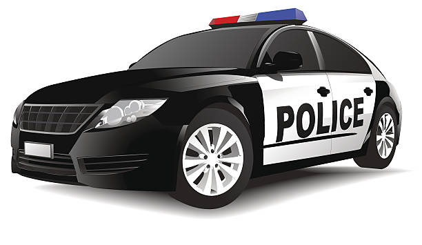 Vector of Police Car **NOTE TO INSPECTOR**These vectors are derived from our own 3D generic  car models. They do not infringe on any copyrighted designs.** police car stock illustrations