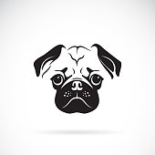 Vector of pug dog face on white background, Pet. Animals. Easy editable layered vector illustration.
