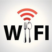 Spoon and fork with Free WiFi icon. Restaurant location Free WiFi