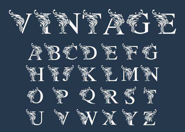 vector of retro font and alphabet - białoruś stock illustrations