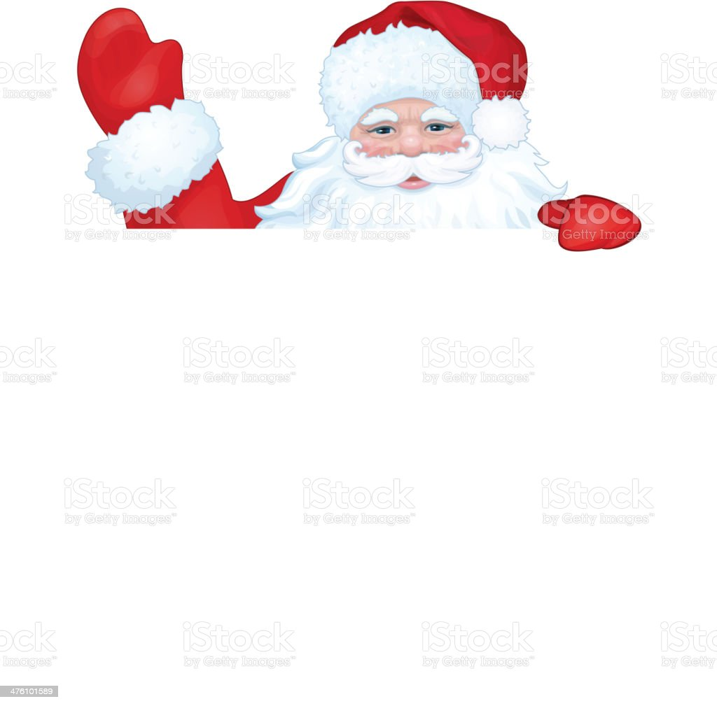Vector of Santa Claus hiding by blank isolated. royalty-free stock vector art