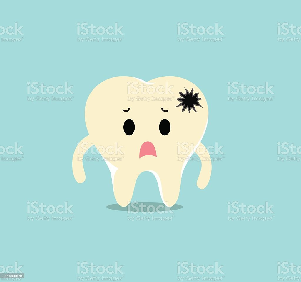 Vector of Sick yellow dirty tooth with crack for Healthcare vector art illustration