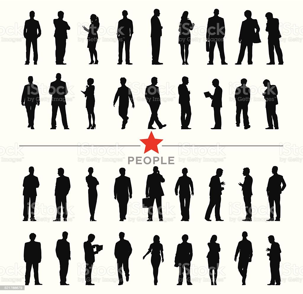 Vector of Silhouette Business People with Different Activities vector art illustration