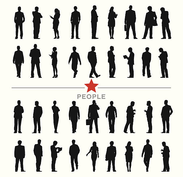 bildbanksillustrationer, clip art samt tecknat material och ikoner med vector of silhouette business people with different activities - helkroppsbild