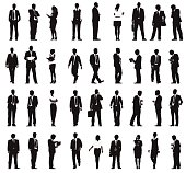Vector of Silhouette Business People Working in a Row