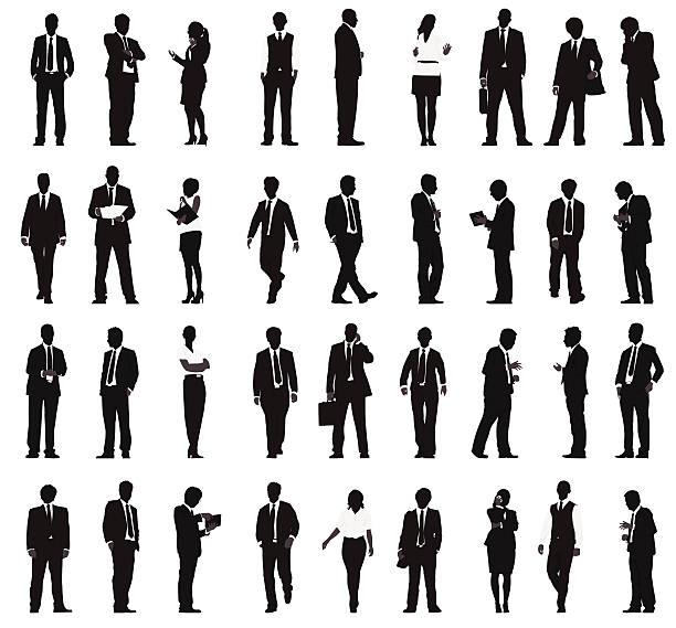 ベクトルのシルエットで働くビジネス人々の列 - ビジネスマン点のイラスト素材/クリップアート素材/マンガ素材/アイコン素材