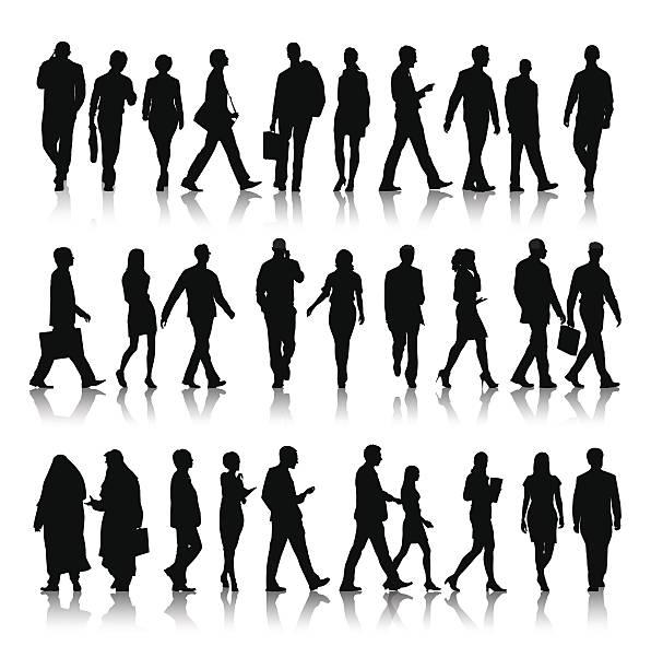 - vektor-silhouette der geschäft leute pendeln - berufstätige männer stock-grafiken, -clipart, -cartoons und -symbole