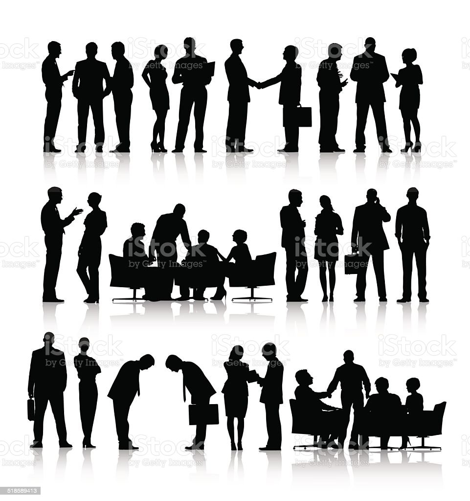 Vector of Silhouettes of Business People Working vector art illustration