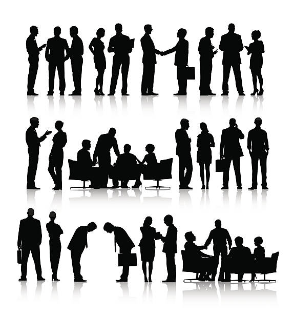 Vector of Silhouettes of Business People Working Vector of Silhouettes of Business People Working business silhouettes stock illustrations