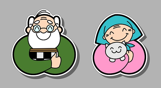Vector of smiling old people. Grandfather is a chess player. Grandmother in a scarf hugs a cat. The old woman and the old man, the elderly. For avatar, badge, sticker, poster, fabric, textile.