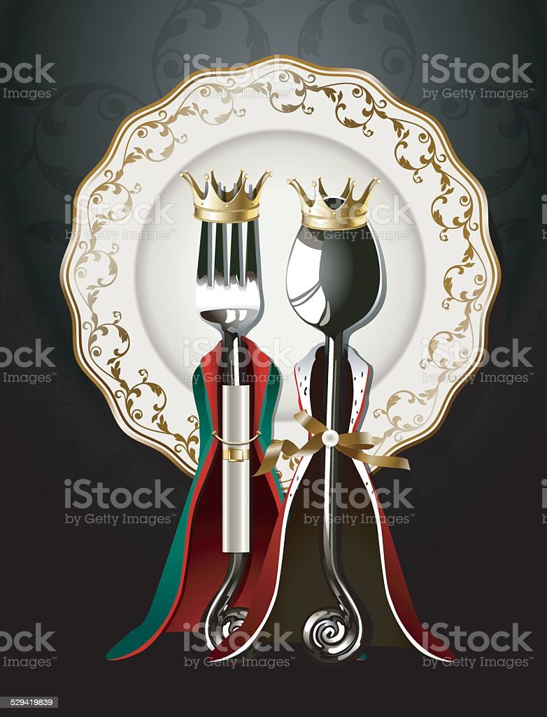 Vector of Spoon and Fork on Luxury Plate vector art illustration