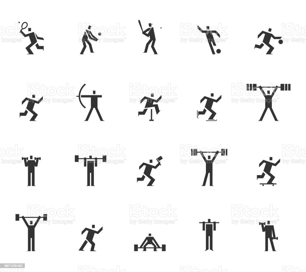 Vector Of Square Headed Man Sports Set Icon Football Basketball