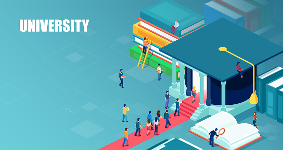 Vector of students standing in line to enter university