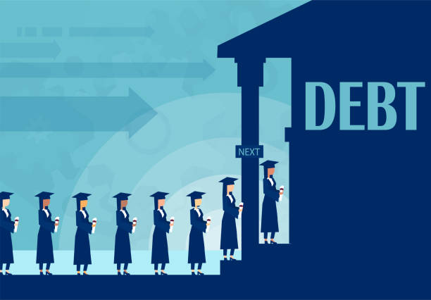 Vector of students staying in line to borrow money in bank to pay for education. vector art illustration